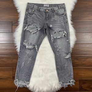 One Teaspoon Gray Chalk Destroyed Freebirds Jeans